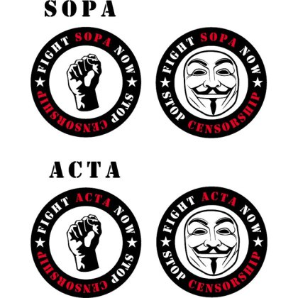 Fight Acta and Sopa Stickers Free Vector