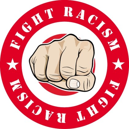 Fight Racism Sticker Free Vector