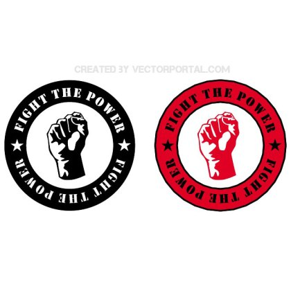 Fight The Power Sticker Free Vector