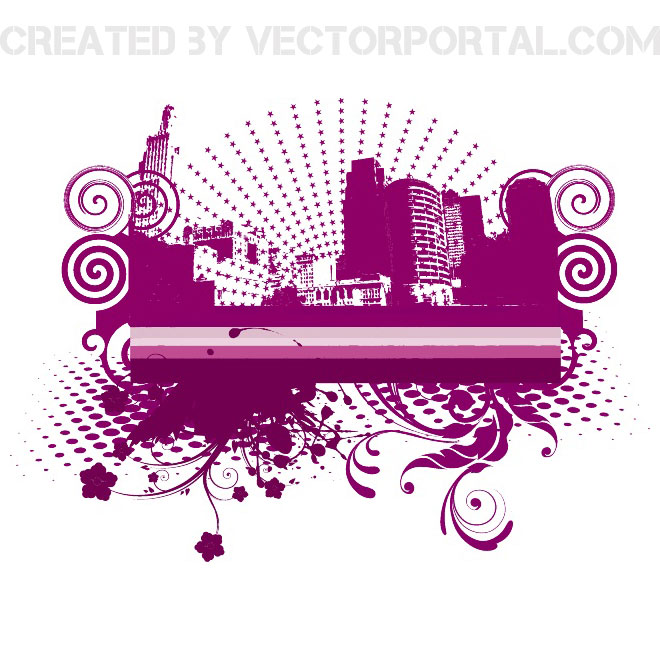 Floral and Halftone City Free Vector