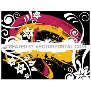 Floral Grunge Splatter Background Free Vector