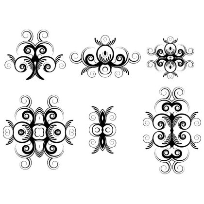 Floral Ornaments Pack 2 Free Vector