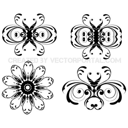 Floral Ornaments Pack Free Vector