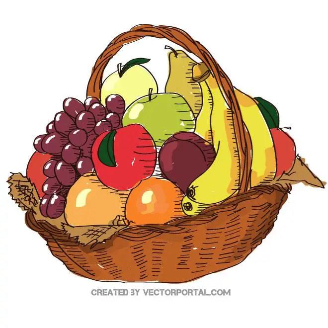 Fruit Basket Illustration Free Vector