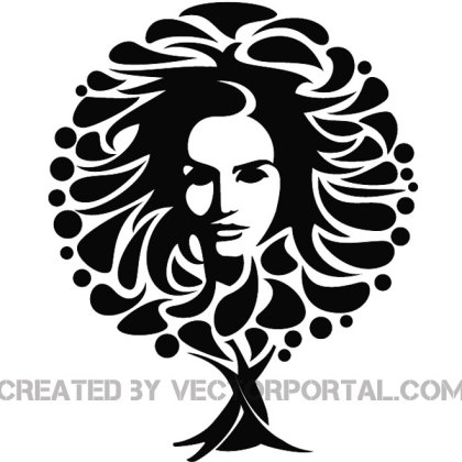 Girl Face and The Tree Image Free Vector