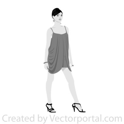 Girl in Grey Dress Free Vector