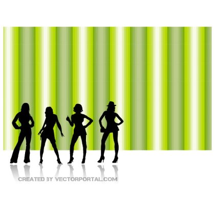Girl Silhouettes Abstract Retro Free Vector