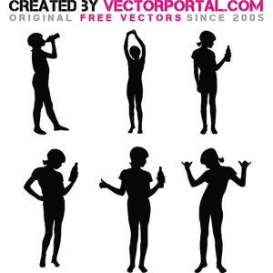 Girl Silhouettes Free Vector