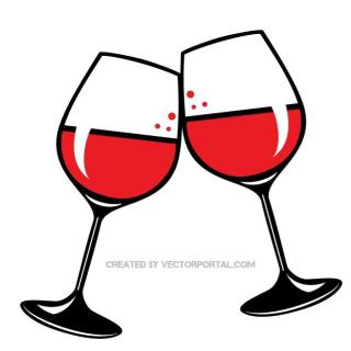 Glasses of Red Wine Free Vector