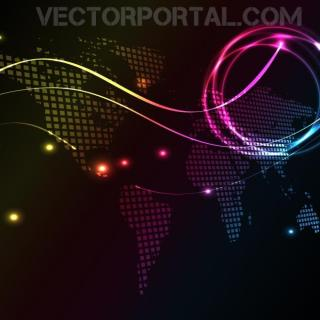 Glowing Illustration with World Map Free Vector
