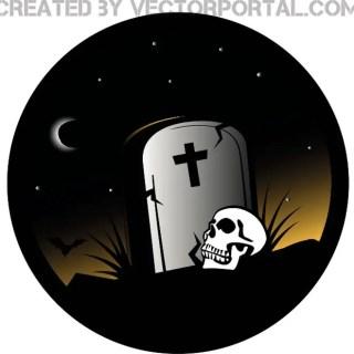 Grave Halloween Theme Free Vector