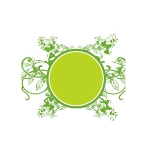 Green Circle on Floral Background Free Vector