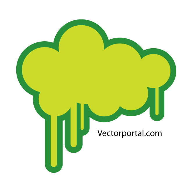 Green Cloud Drips Free Vector