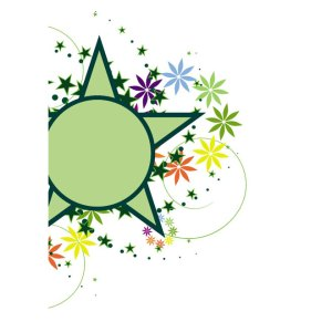 Green Star Floral Decoration Free Vector