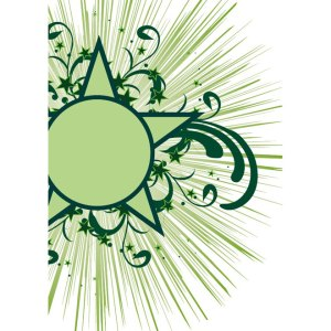 Green Star with Floral Designs Free Vector