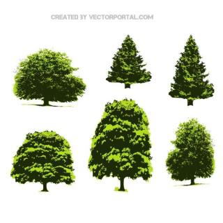 Green Trees Pack Free Vector