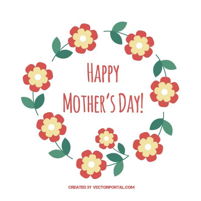 Greeting Card for Mother Day Free Vector