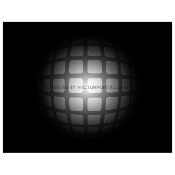 Grey Spheric Grid on Black Background Free Vector