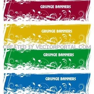 Grunge Banner Set Free Vector