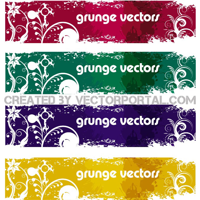 Grunge Banners Set Free Vector