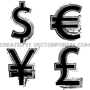 Grunge Currency Symbols Free Vector