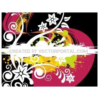Grunge Floral Background Design Free Vector