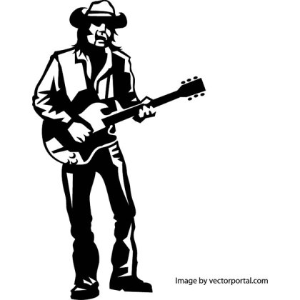 Guitar Player Art Free Vector