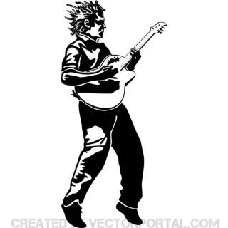 Guitar Player Illustration Free Vector