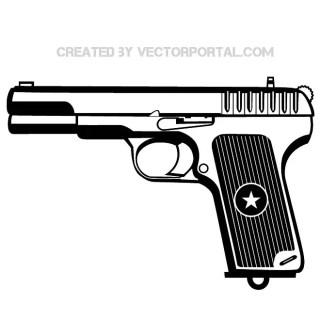 Gun with Texas Star Sign Free Vector