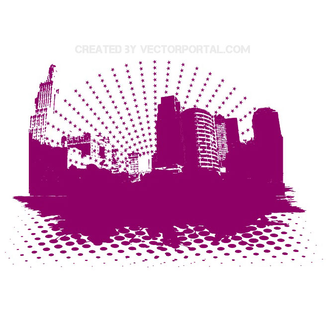 Halftone Abstract City Free Vector