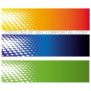 Halftone Banners Set Free Vector