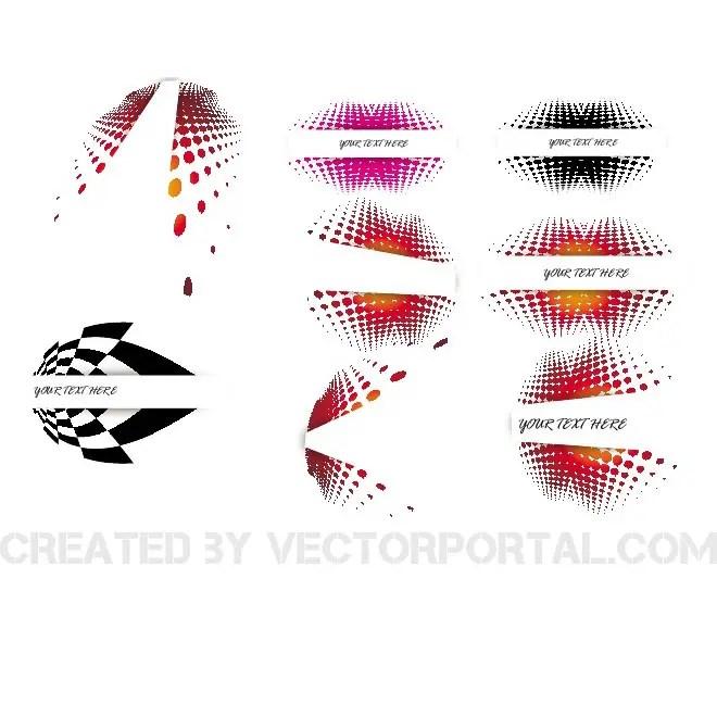 Halftone Design Set Free Vector