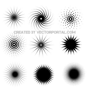 Halftone Dots Shapes Free Vector