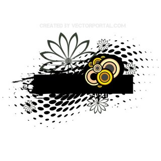 Halftone Floral Graphics Free Vector