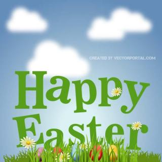 Happy Easter Colorful Card Free Vector