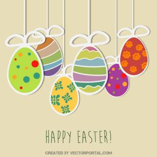 Happy Easter Vintage Card Free Vector