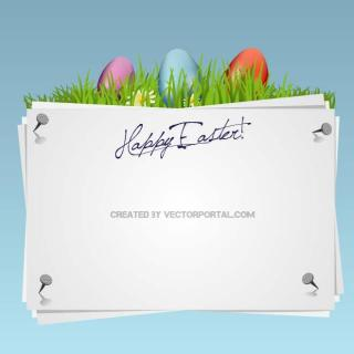 Happy Easter White Card Free Vector