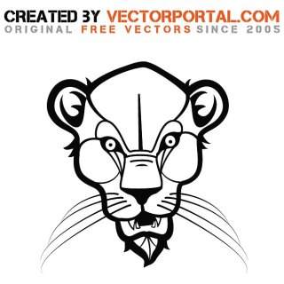 Head of Wild Cat Graphics Free Vector