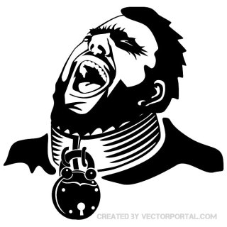 Head with Padlock Free Vector