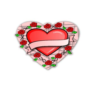 Heart and Roses Free Vector
