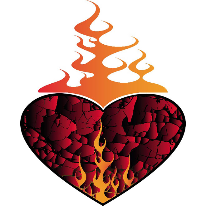 Heart on Fire Illustration Free Vector