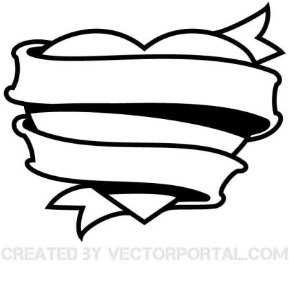 Heart Wrapped with Ribbon Free Vector