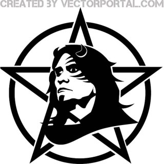 Heavy Metal Face with Star and Circle Free Vector