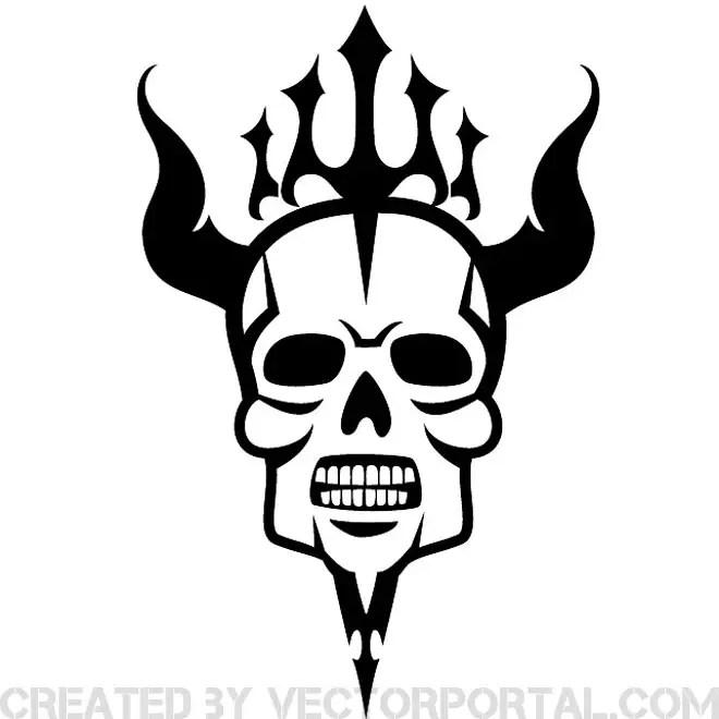 Hell Skull Artwork Free Vector