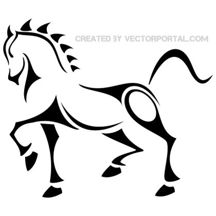 Horse Tattoo Clip Art 2 Free Vector