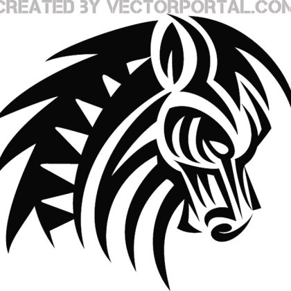 Horse Tribal Style Tattoo Free Vector