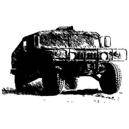 Humvee Monochrome Image Free Vector