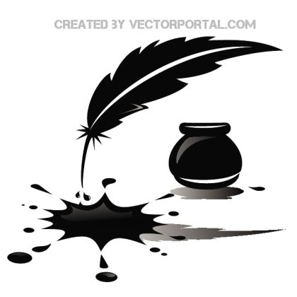 Ink and Feather Stock Free Vector