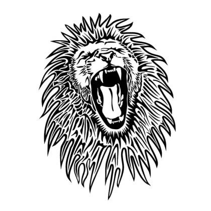 Lion Black White Image Free Vector