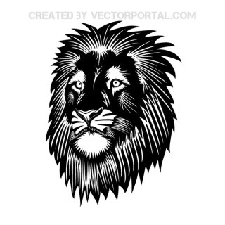 Lion Head Black Free Vector